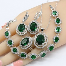 Green Crystal Silver Color Bridal Jewelry Sets For Women Necklace Pendant Bracelets Earrings Rings Gift Box