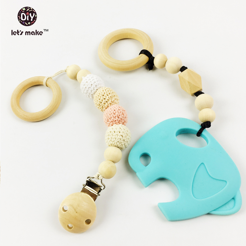 Let's make silicone teether baby carrier teether set eco- friendly organic wood teething ring  nursing baby holder Rattle