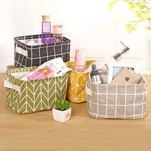 Seluna Desktop Basket Basket Cute Printing Waterproof Organizer Cotton Linen Misceláneas Caja de Almacenamiento Gabinete Bolsa de Almacenamiento de Ropa Interior