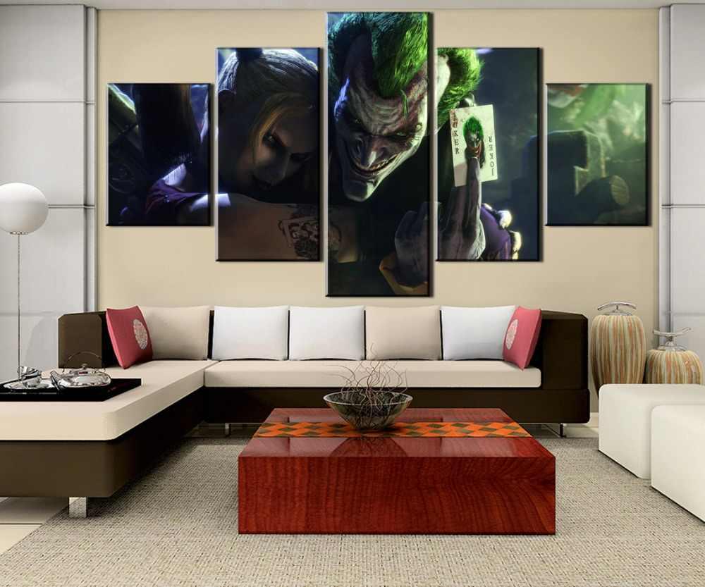 5ピースキャンバスアートtwitedfateジョーカーポスターcuadros decoracion絵画キャンバス壁の芸術家の装飾壁の装飾