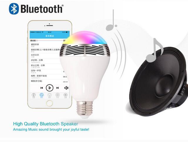 Smart LED Bulb Bluetooth Speaker Bulb E27 LED RGB Light Wireless Music Bulb Lamp Color Changing via App Control Bulb Speaker wireless e27 bluetooth remote control mini smart led audio speaker rgb 9 color light warm bulb music lamp car styling