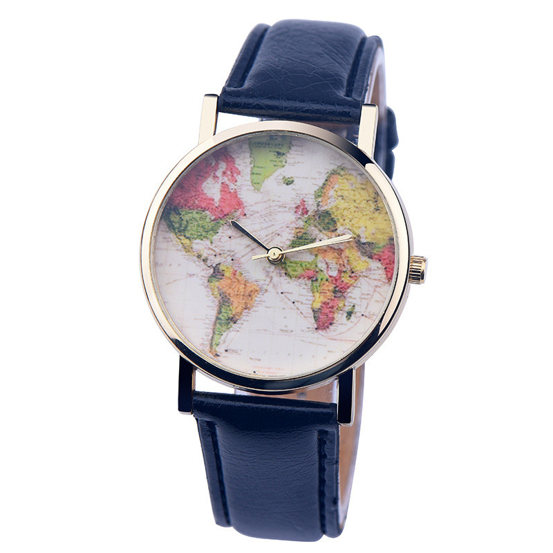 NEW Fashion colorful Women World Map Watch Casual Men Vintage Quartz Watch Gift Leather WristWatches female Relogio Feminino