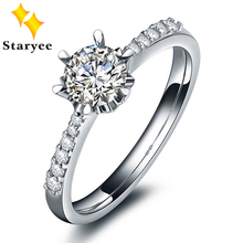 Certified 0.3CT VS DEF Pure 18K Solid White Gold Charles Colvard Moissanite Women Wedding Engagement Ring 0.1CT Diamond Accents