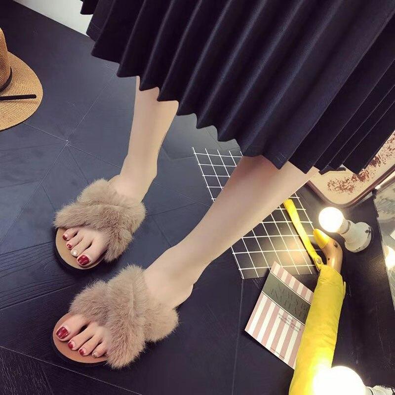 2019 черные зимние женские домашние тапочки с искусственным мехом модные теплые туфли женские слип  Лучший!