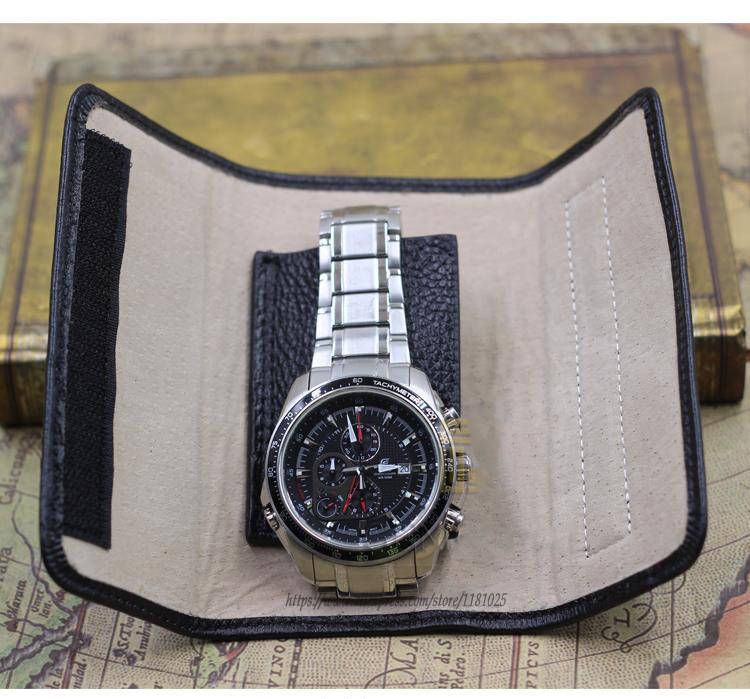 High Quality Portable Black Guine Leather Folding Watch Bag Watch Travel Pouch Watch Holder Jewelry Packaging