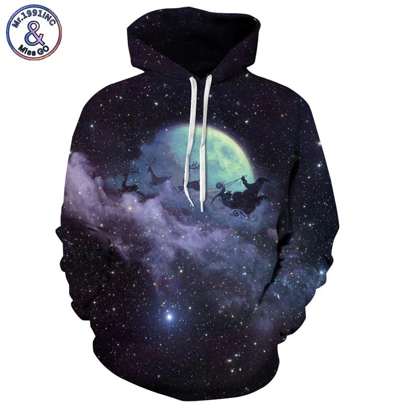 Mr.1991INC New Men Hooded Hoodies digital Print Sky Christmas reindeer Casual Sweatshirts Men sweatshirt hoodie pullovers M167