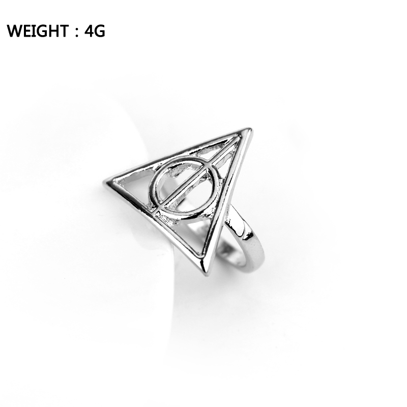 Magic Rings The Deathly Artifact Ring Hollow Cool Triangle Ring Men Women Movie Jewelry
