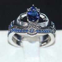 Claddagh In Possesso di Cuore di amore Blu 5a Zircon Crown Wedding Ring Set Eterna oro bianco 10KT riempito regalo Gioielli di Cristallo formato 5-10