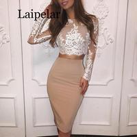 Laipelar 2019 Autumn Women Elegant Casual Cocktail Party Alluring Suit Sets Crochet Floral Lace Eyelash Top Slinky Skirt Sets