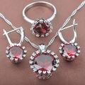 Diseño redondo Rojo Cubic Zirconia Pendientes de Gota de Plata de La Joyería de Las Mujeres Collar Colgante Anillos Envío Libre TZ014