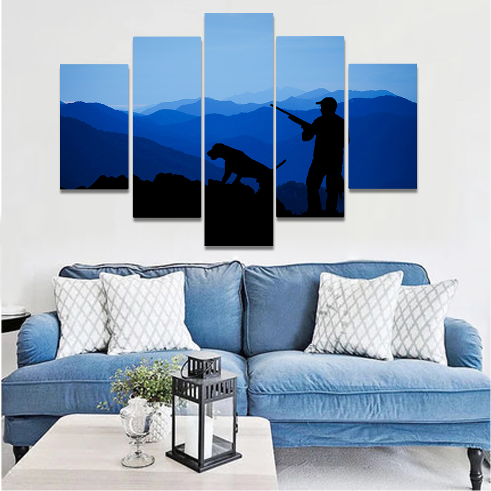 Unframed Canvas Painting Daybreak Mountains Hunter Hound Art Picture Prints Wall Picture For Living Room Wall Art Decoration