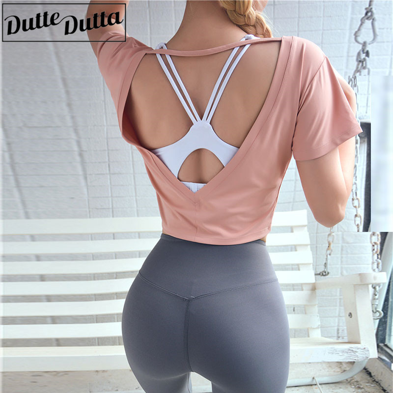 Backless Yoga Top Women Strappy Short Sleeve Crop Tops