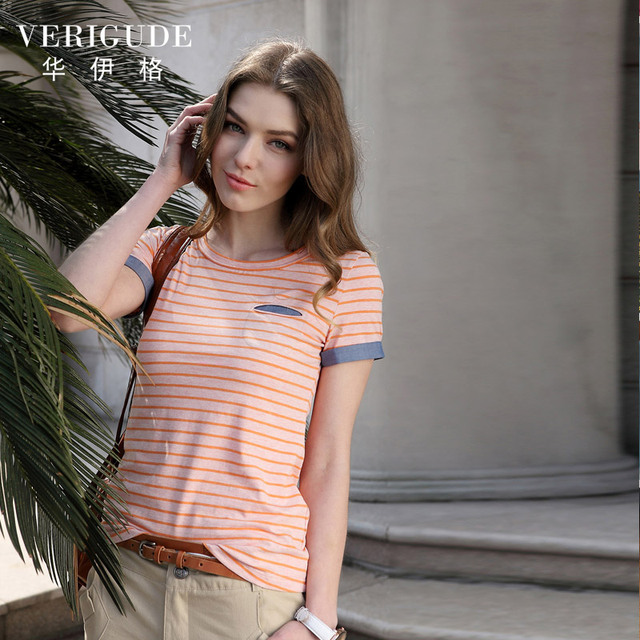 Veri Gude Summer Casual Style T-Shirt Women Slim Fit Cotton Striped Shirt O-Neck Seven Color Cute All-Match Free Shipping