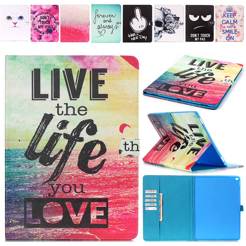New Cartoon Printed For iPad Pro 12.9 Case Slim Bracket Stand Flip PU Cover For Apple iPad Pro 12.9 Folio Protective Case nice soft silicone back magnetic smart pu leather case for apple 2017 ipad air 1 cover new slim thin flip tpu protective case