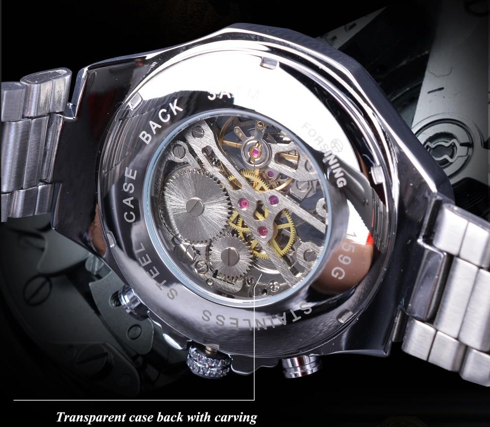inoxidável esqueleto mecânico esporte relógio de pulso masculino marca superior luxo