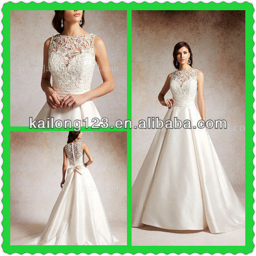 Dramatic Ball Gown Court Train Illusion Bateau Over Sweetheart Bow Sash Belt Satin Lace Top Wedding