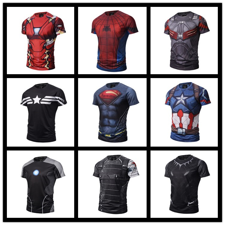 Raglan Sleeve Avengers:Endgame Printed T shirts Men Compression Shirts Summer NEW Cosplay Crossfit Tops For Male Fitness Cloth