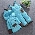Envío gratis Baby set Niños Niños Niñas invierno caliente abajo conjunto chaqueta gruesa capa + mono conjunto chaqueta de los niños Los Niños de ropa