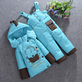 Free shipping Baby set Children Boys Girls winter warm down jacket  set thick coat+jumpsuit set kids jacket Children's clothes