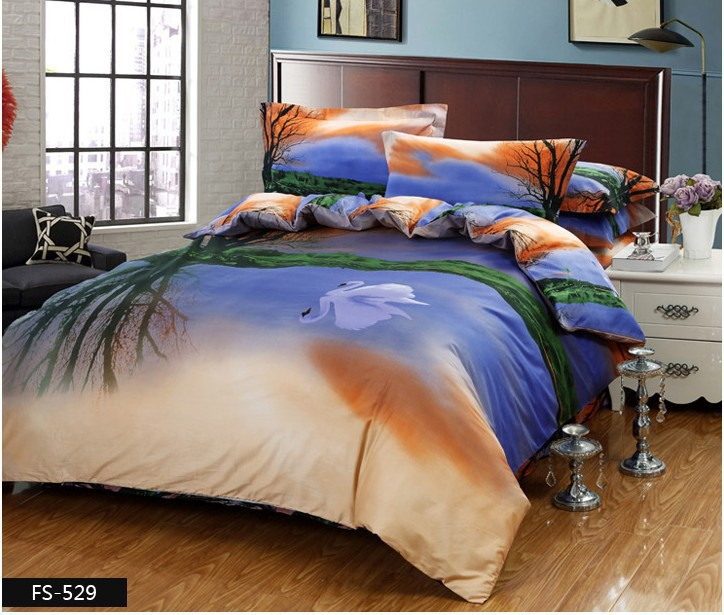 3d Swan Bedding Set Queen Size Quilt Duvet Covers Blue Bed
