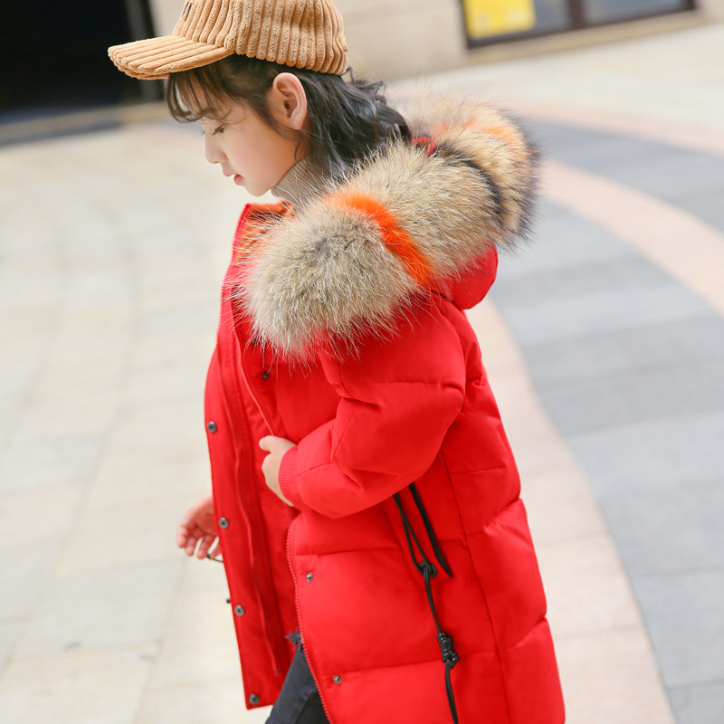2018 New Girls Winter Coat for Kids Down Jackets Long Hooded Jacket Outerwear Children Clothes Fashion Down Coat for Girl 5-12T fashion children winter coat long down jacket for girl long parkas kids hooded color raccoon fur collar coat zipper outerwear