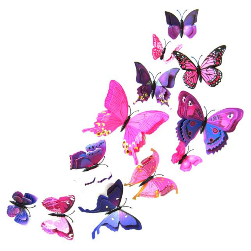 12Pcs/Pack 3D double-layer Curtainbuckle clothes decoration Home Decor Butterfly Shape Sticker Pin Adesivo de parede D38JL24