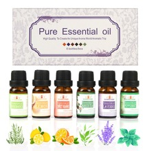 6Pcs/set 100% Pure Plant Natural Aromatherapy Oils Kit For Humidifier Water-soluble Fragrance Oil Massage Essential Set 10ml