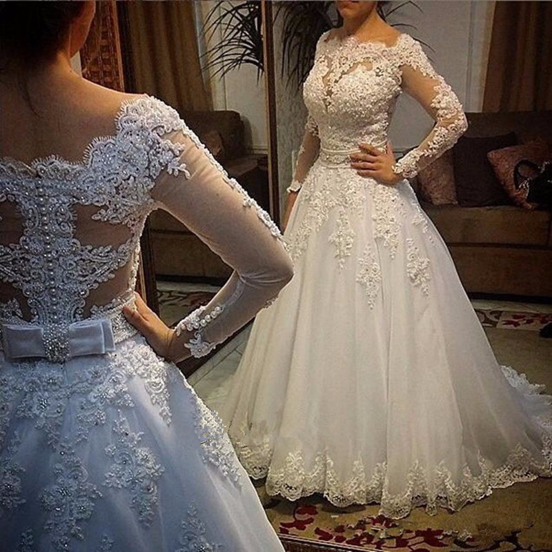Robe de mariage Elegant Long Wedding Dress 2017 Boat Neck Long Sleeves Chapel Train A-Line Appliques Pearls Tulle Bridal Gowns