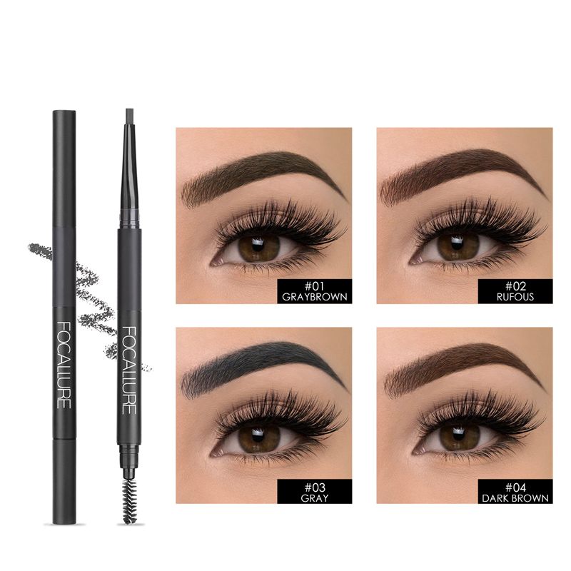 FOCALLURE NEW ARRIVAL Rotation 3 in 1 Auto Brows Pen Long-Lasting Eye Brow with Brush Fashion&HOT Eyebrow pencil&Powder