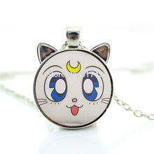 2017 New hot New Sailor Moon Necklace Anime White Cat Pendant Jewelry Glass Photo Pendant Necklace CN-00769