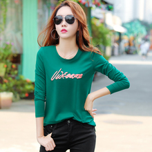 Women Long Sleeve Tshirts Cotton Letter Embroidery 2018 Spri