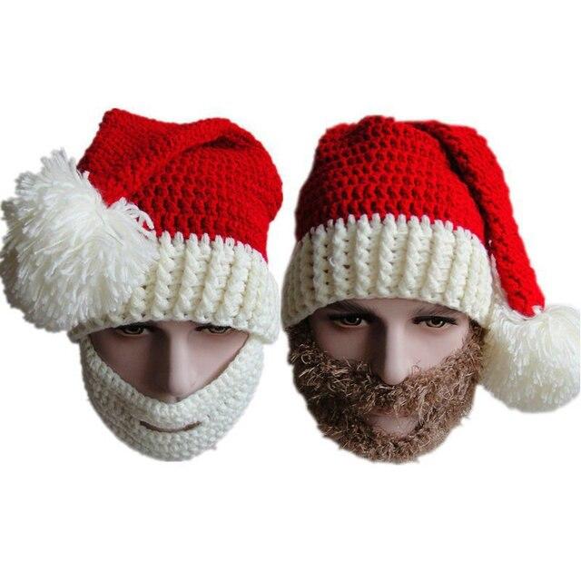 845433abcb5 Winter Chunky Crochet Christmas Hat Vogue Knitted Santa Claus Beanie Men  Ski Skull Face Mask Handmade Wig Beard Hats YG158