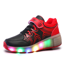 LED light-emitting Kids Heelys boys and girls single round adult automatic models winter skate wheels child