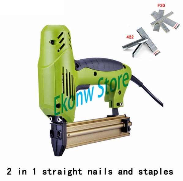 Gratis verzending 2 In 1 Framing Tacker Eletric Nagels Nietje Gun 220 V Elektrisch Gereedschap Elektrische Nietmachine Pistool Met 400 nagels