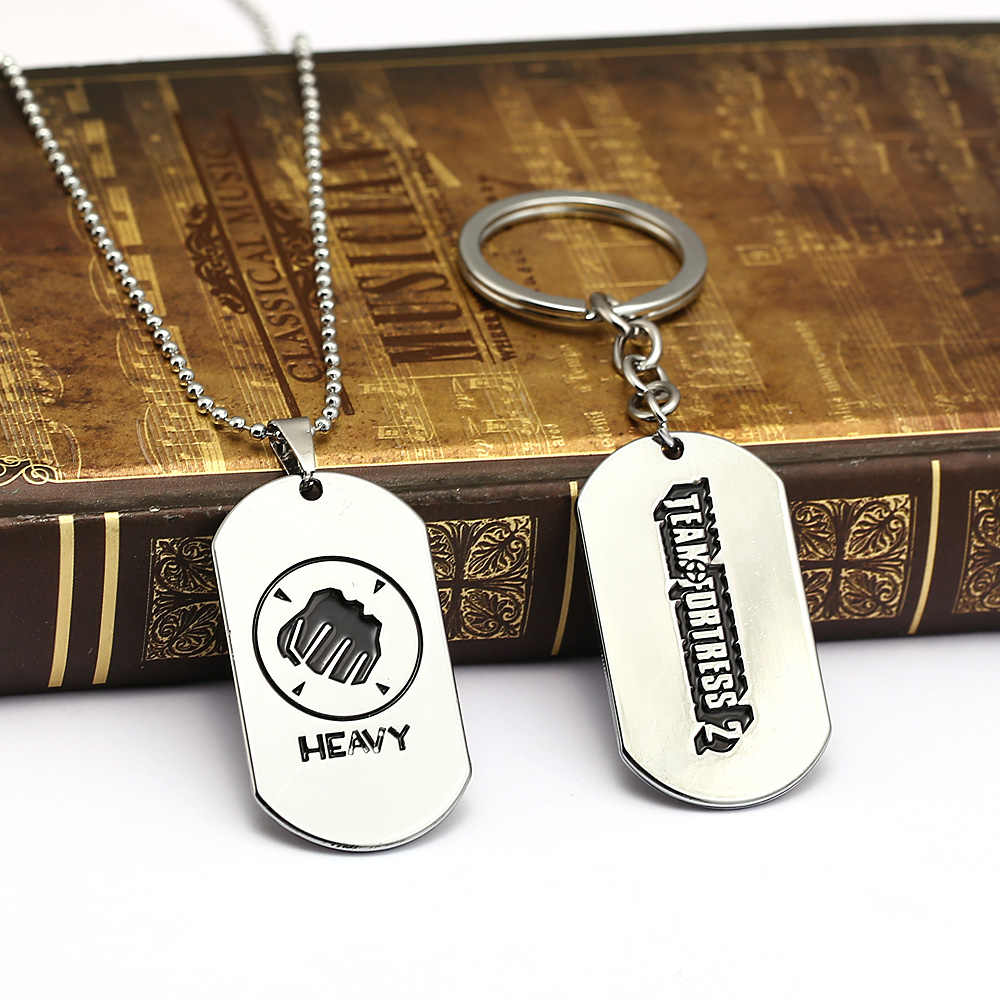 Team Fortress 2 Keychain Heavy Dog Tag Pendant Silver Metal llaveros Key  Ring Car Key Chain sleutelhanger Game Jewelry