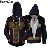 BIANYILONG 2018 Ant Man And The Wasp Hoodie Sweatshirt Wasp 3d Muscle Printed Jacket Men Women