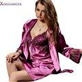 Леди Одежды 2016 Новый Твердый Сексуальный Ночное Мода Ночные Сорочки Женщины Имитация Халат Наборы V Шеи Pijamas Modelos Femininos Пижамы