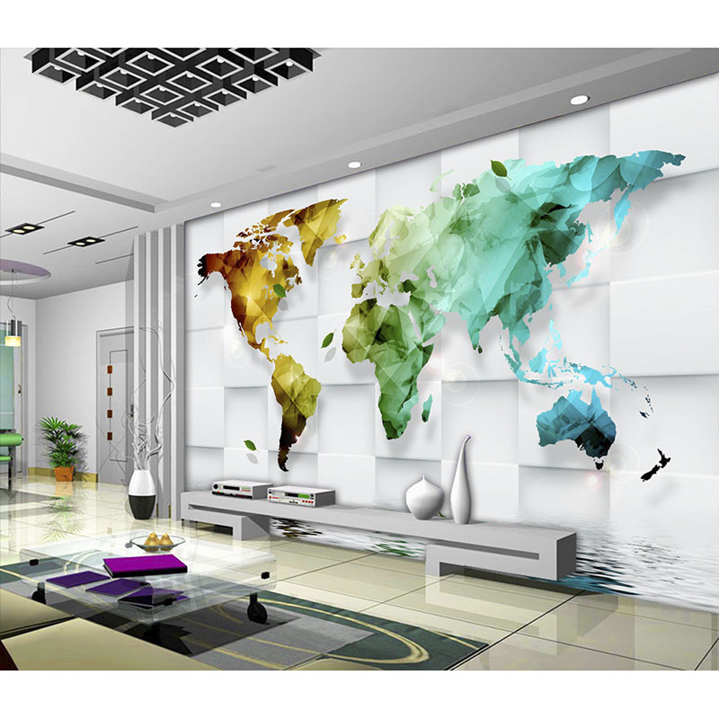 Marvelous Aliexpress.com : Buy Beautiful Wallpaper Art Decoration For Living Room TV  Wall Wallpaper 3D Colorful World Map Murals Non Woven Wall Paper New#320  From ... Part 32