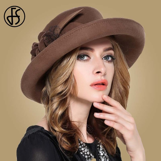 6157a80df0b FS Vintage Large Wide Brim 100% Wool Felt Fedora Hat Winter Women Flowers  Black Khaki Wine Red Mesh Church Bowler Derby Hats