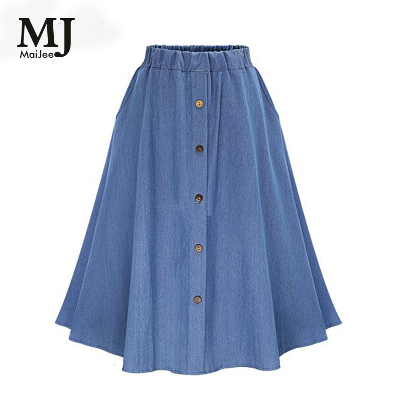MaiJee 2017 New Summer Cotton Jeans Skirt Vadim Faldas Pleated Skirt Faldas Mujer Saias Na Altura Do Joelho Saia Plissada Denim