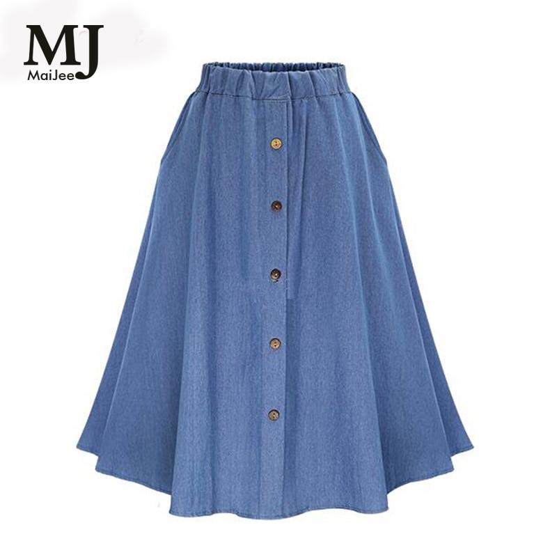 MaiJee 2017 New Summer Cotton Jeans Skirt Vadim Faldas Pleated Skirt Faldas Mujer Saias Na Altura Do Joelho Saia Plissada Denim