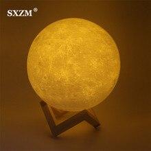 Ночник 3D печать луна лампа лунный usb зарядка Ночной свет сенсорное управление яркость два тона 8 см 10 см 15 см дропшиппинг