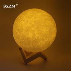Night Light 3D Printing Moon Lamp Lunar USB Charging Night Light Touch Control Brightness Two Tone 8CM 10CM 15CM Dropshipping