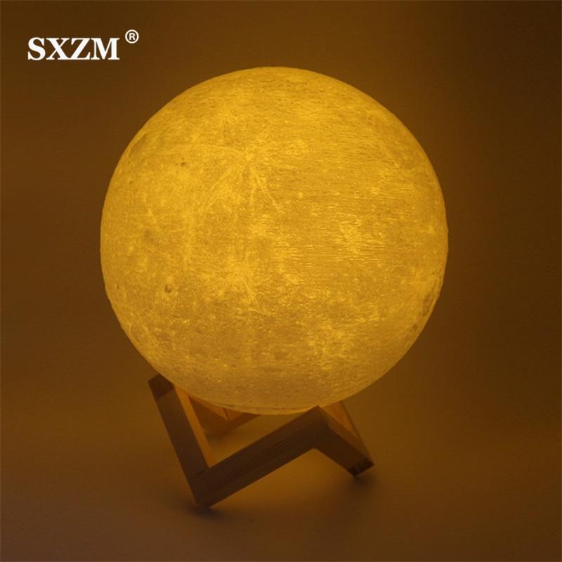 SXZM ночник 3D печать Луны лампа Lunar зарядка через usb ночник сенсорный Управление Яркость два тона 8 см 10 см 15 см 20 см