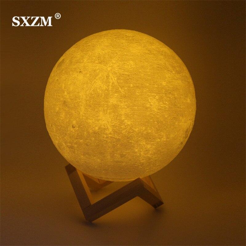 SXZM luz nocturna 3D impresión Luna lámpara Lunar USB carga noche luz táctil Control brillo dos tonos 8 cm 10 cm 15 cm 20 cm