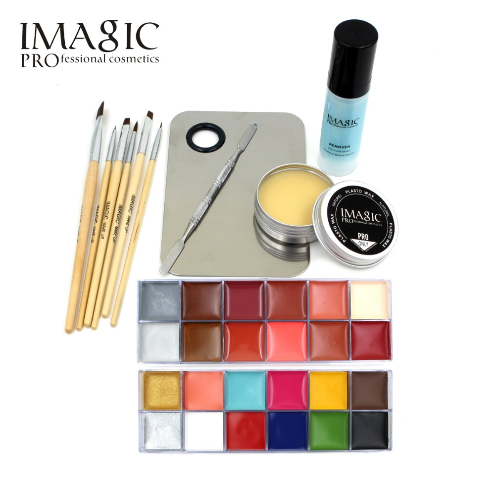 IMAGIC Professional Makeup Cosmetics 1 X12 Colors Body Painting+Skin Wax+professional makeup remover Makeup Set Tools