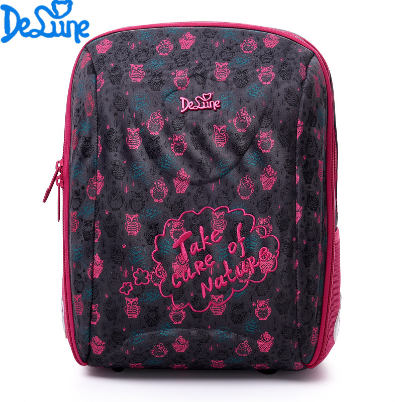 Delune Brand Hot Sale High quality Space children's Backpacks for girls in grade school reflective backpack Waterproof schoolbag  hot sale high quality ultra light waterproof child school bag lovely children backpack girls backpack grade class 1 6