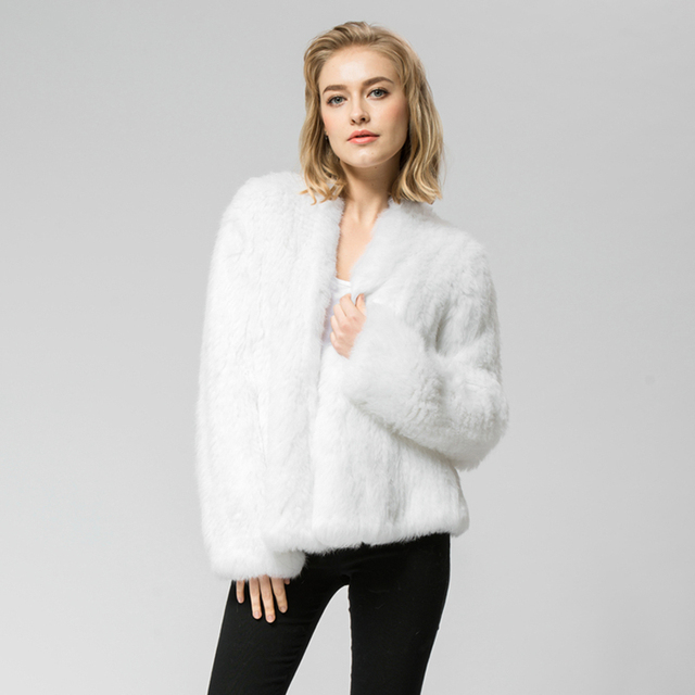 CR002 3 NEW Knitted knit 100% genuine real rabbit fur coat ...
