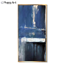 100% Hand Painted Big Size Modern Abstract Hang Painting Navy Blue Oil on Canvas for Living Room Wall Decor