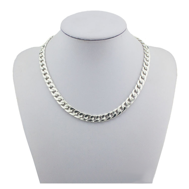 silver konov link chain inch mens stainless steel male length dp necklace